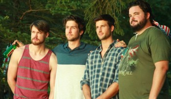 Chord Overstreet, Evan Todd, Parker Young, and Jon Gabrus are four friends managing Todd's coming out in Fourth Man Out.