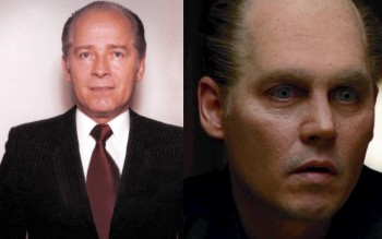 """The real James """"Whitey"""" Bulger and Depp's weird, unrealistic make-up and contacts."""
