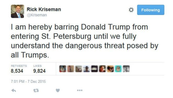 Donald Trump St. Pete mayor Rick Kriseman tweet Twitter