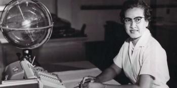 The real Katherine Johnson at her desk at NASA.