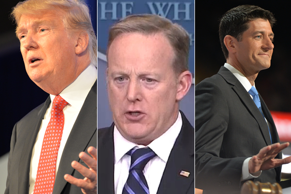 From left, President Donald Trump, White House Press Secretary Sean Spicer and Speaker of the House Paul Ryan (Washington Blade photos of Trump and Ryan by Michael Key; photo of Spicer courtesy C-Span)