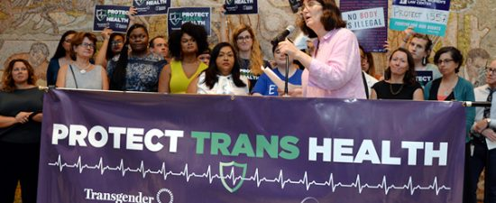'Fierce warriors' rally against Trump plan to undo trans health rule