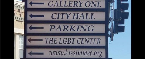 Historic Downtown Kissimmee points the way to the LGBT+ Center